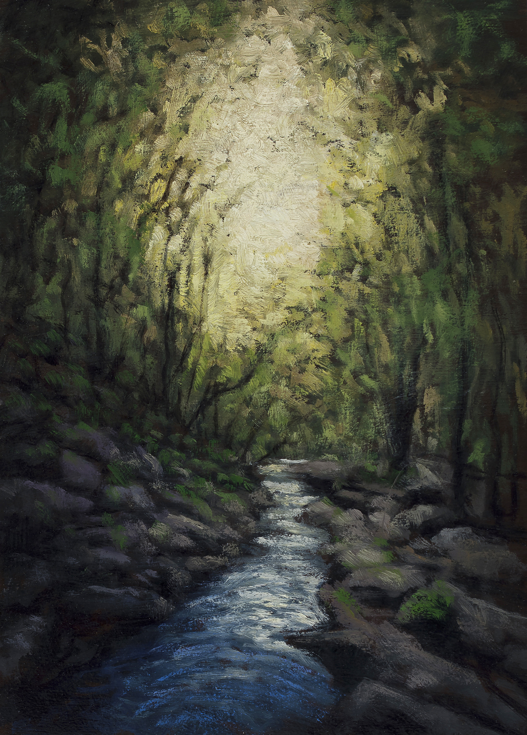River Light 5x7by M Francis McCarthy, Oil on Wood Panel