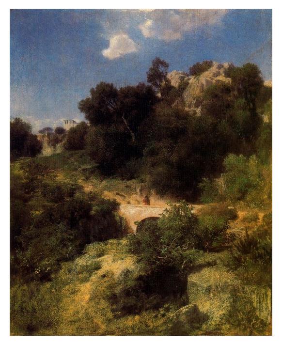 Original by Arnold Böcklin A Passage Pont de Montagne
