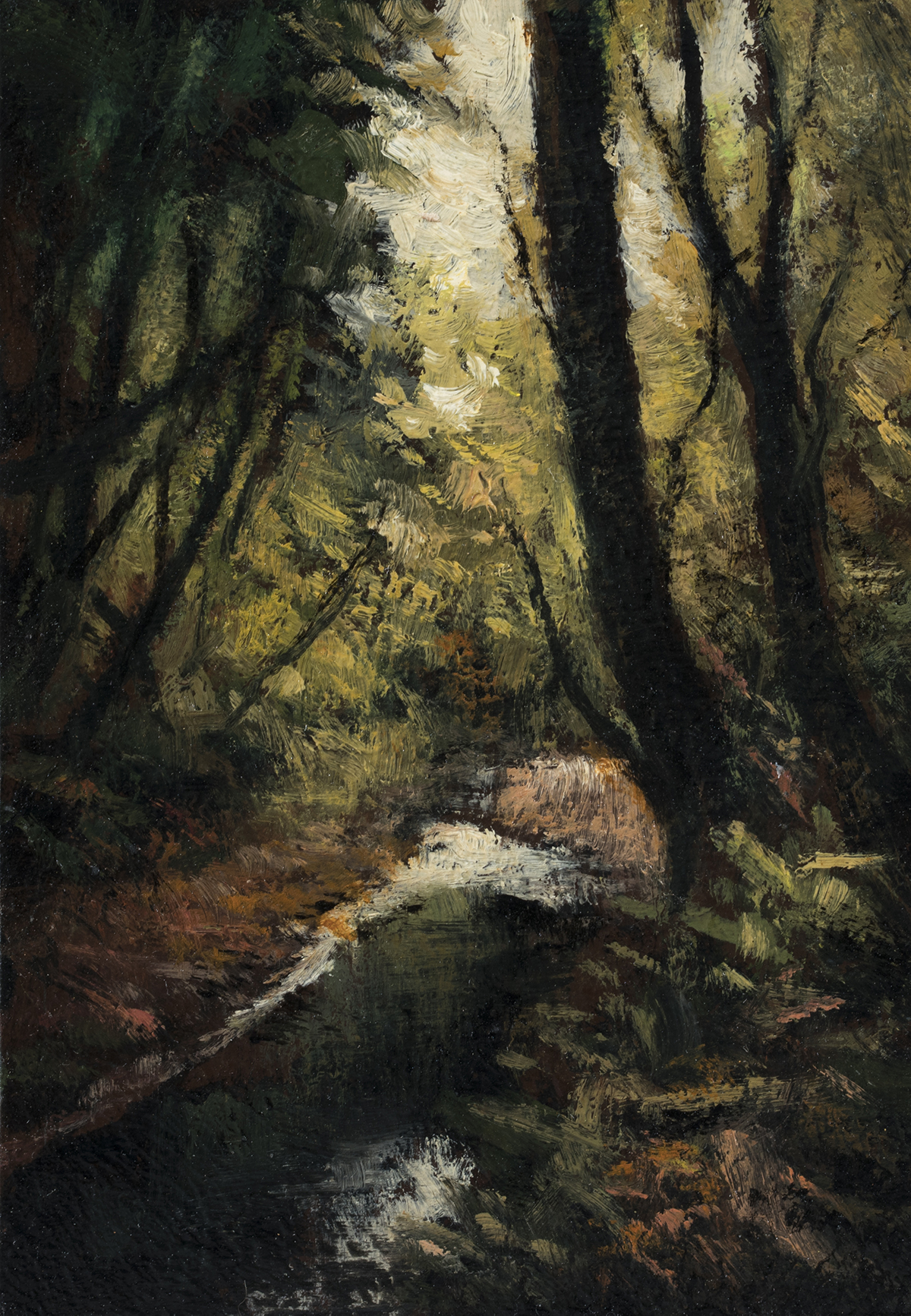 Forest Stream by M Francis McCarthy - 3½x5 Oil on Wood Panel