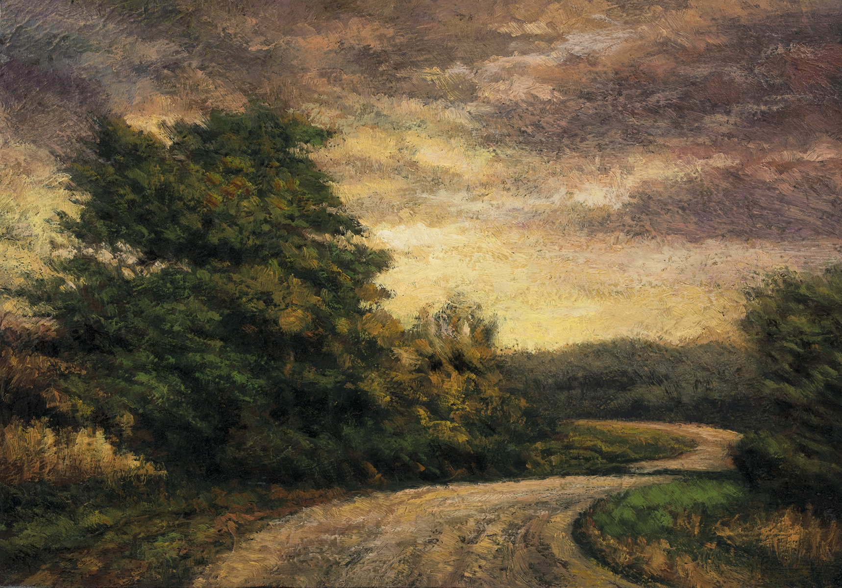 Country Road 7x10 by M Francis McCarthy - 5x7 Oil on Wood Panel