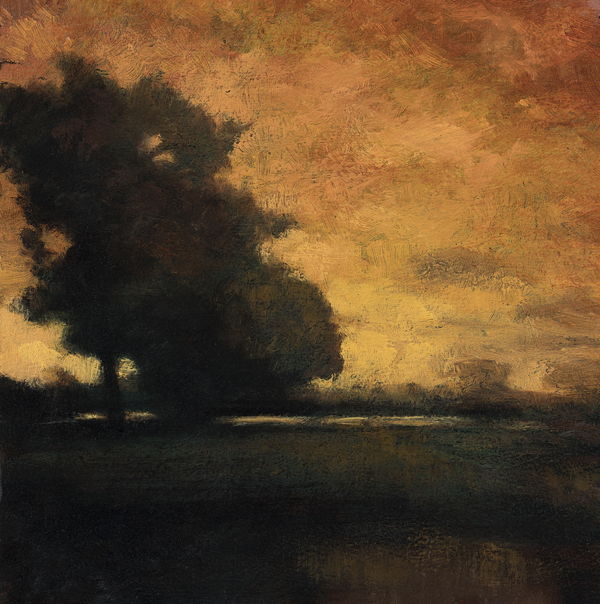 Study after: George Inness - Sunset at Milto by M Francis McCarthy - 5x7 Oil on Wood Panel