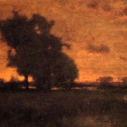 George Inness - Sunset at Milto (Original)