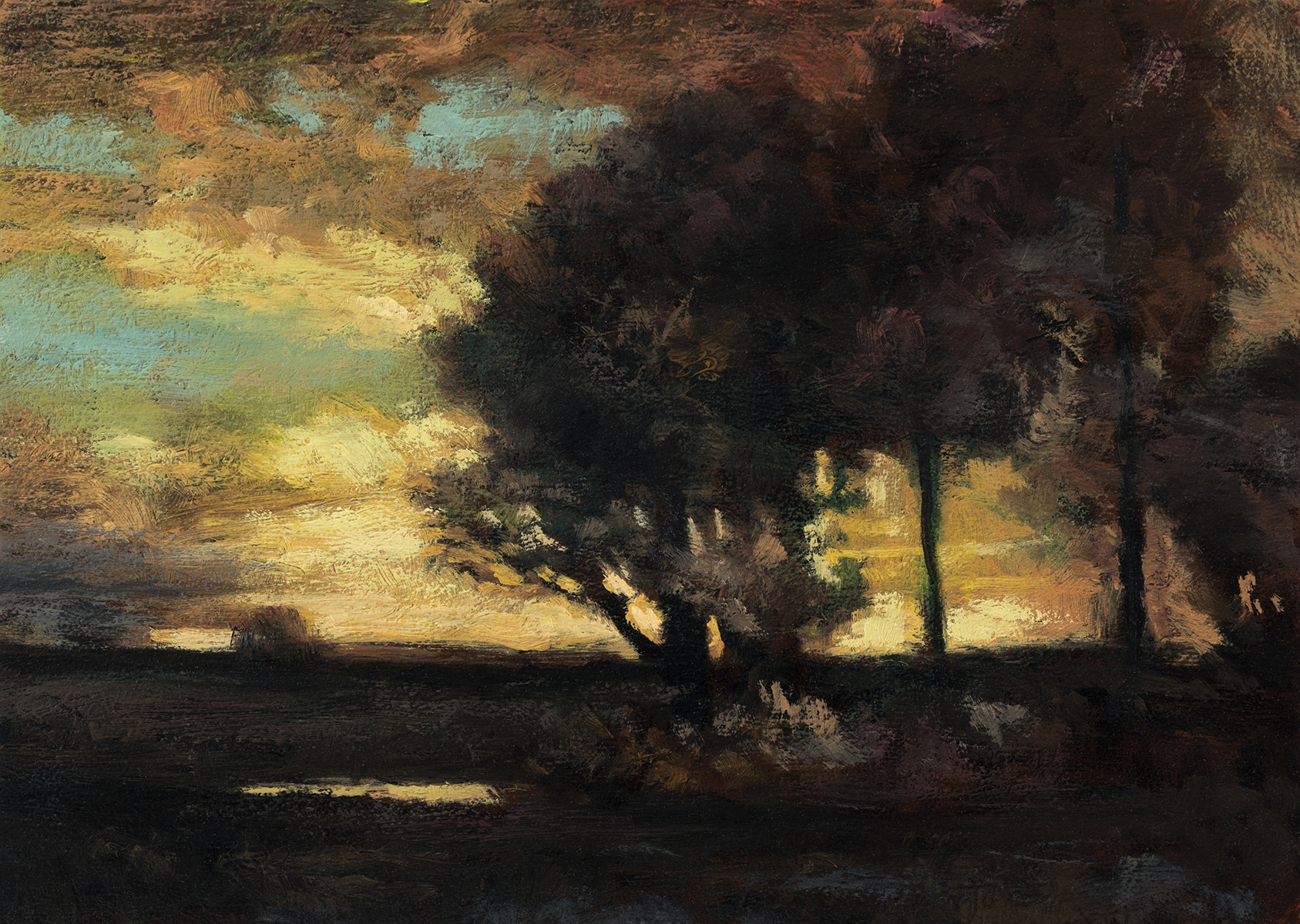 Study after: John Francis Murphy - Evening by M Francis McCarthy - 5x7 Oil on Wood Panel