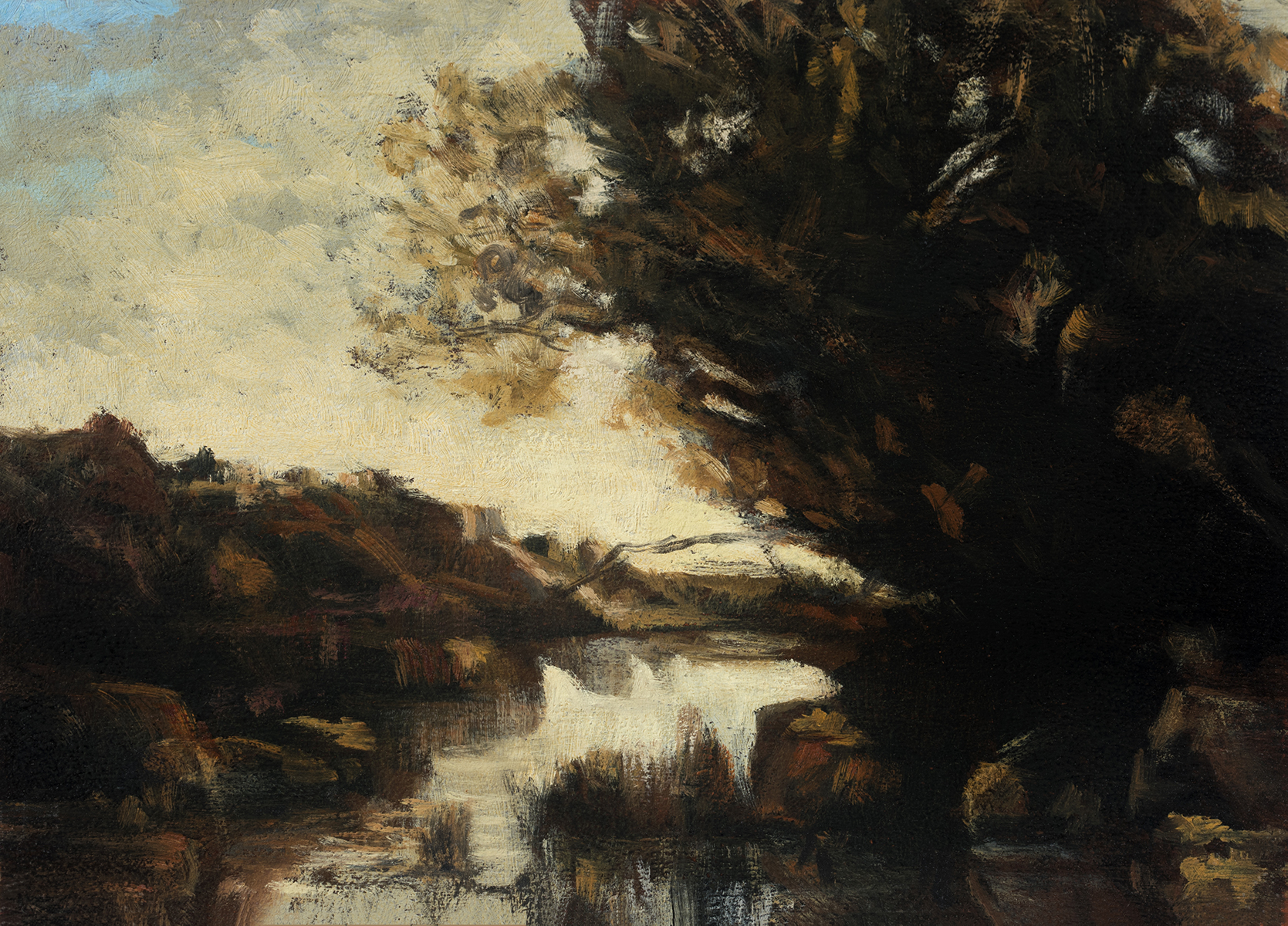 Study after: Camille Corot - Memory of Lake Nemi by M Francis McCarthy - 5x7 Oil on Wood Panel