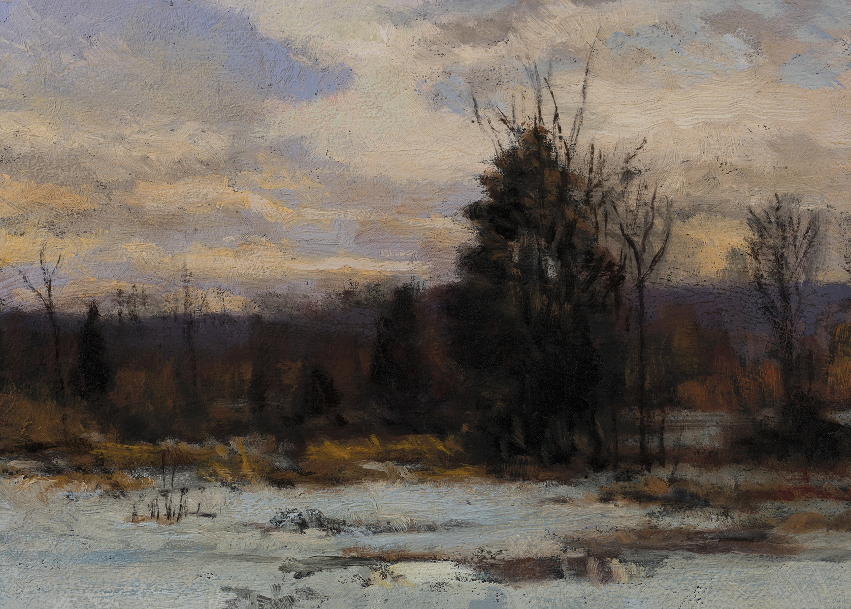 Study after: Hugh Bolton Jones - Winter Sunset by M Francis McCarthy - 5x7 Oil on Wood