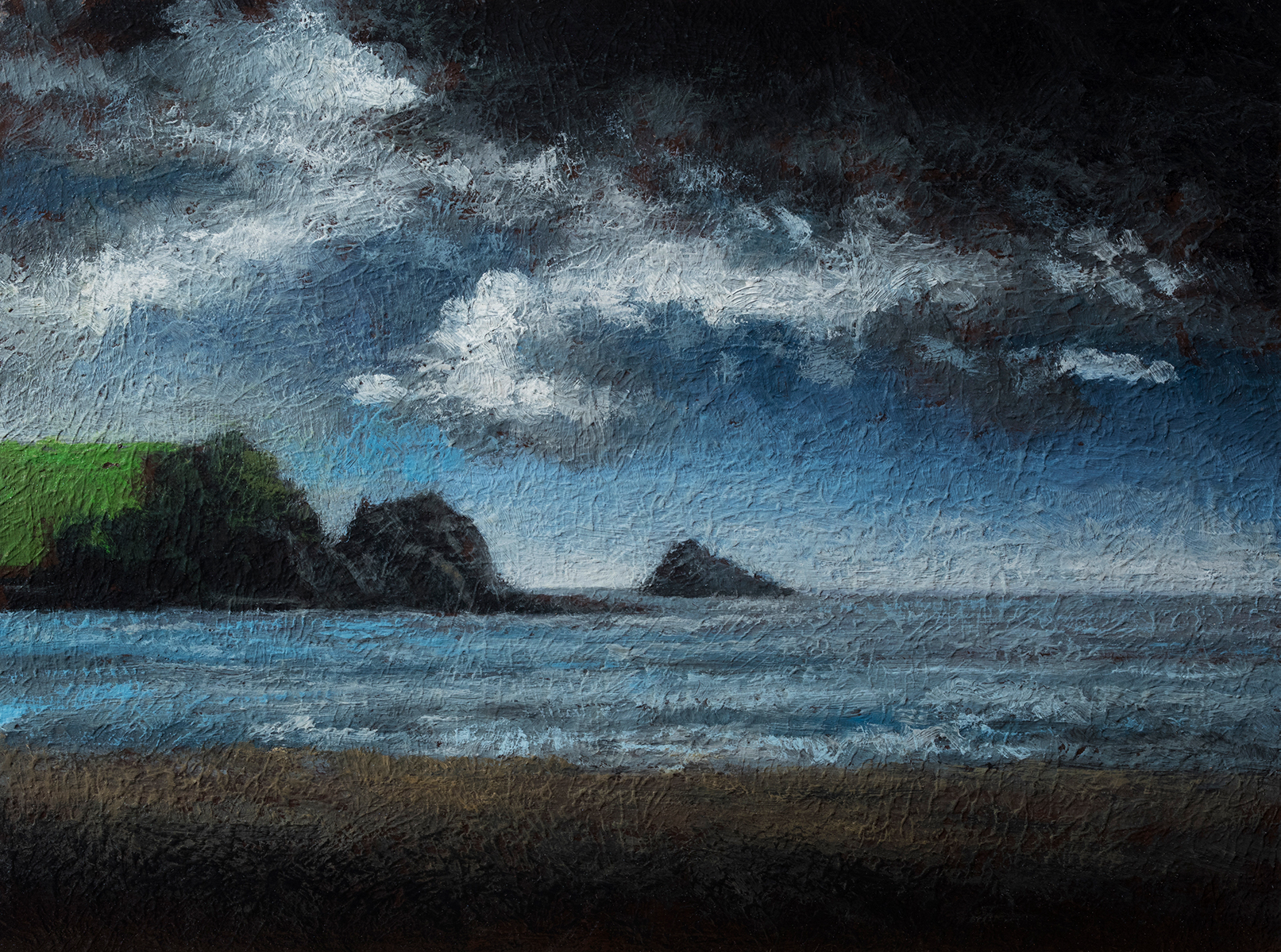 Cloudy Beach by M Francis McCarthy - 6x8 Oil on Wood Panel