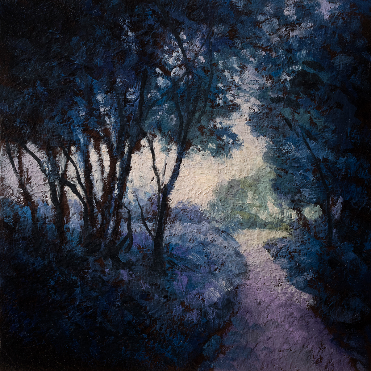 Morning Path by M Francis McCarthy - 6x6 Oil on Wood Panel