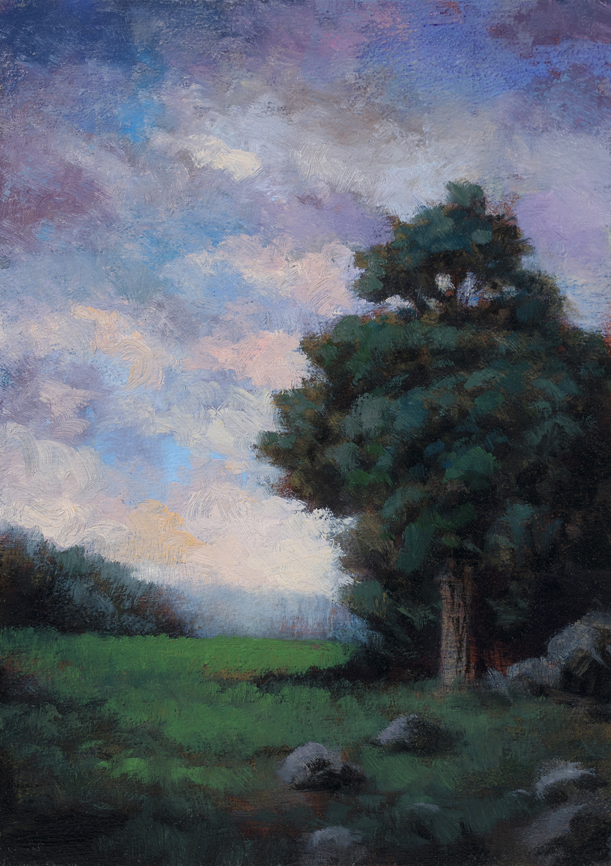 Meadow at Twilight  by M Francis McCarthy - 5x7 Oil on Wood Panel