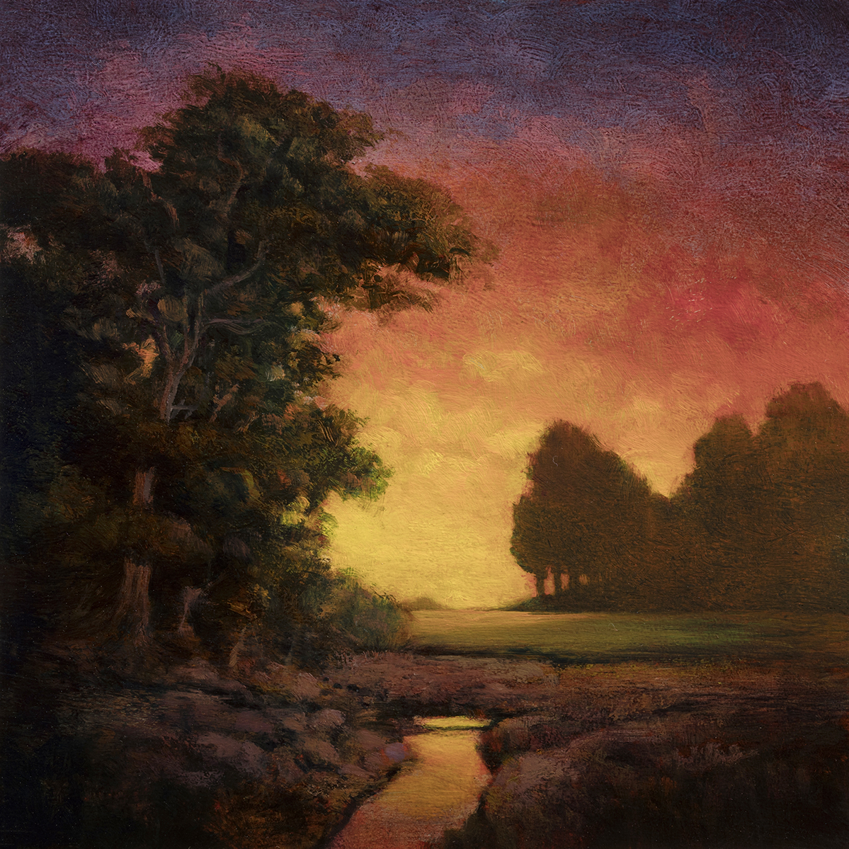 Morning Brook by M Francis McCarthy - 8x8 Oil on Wood Panel