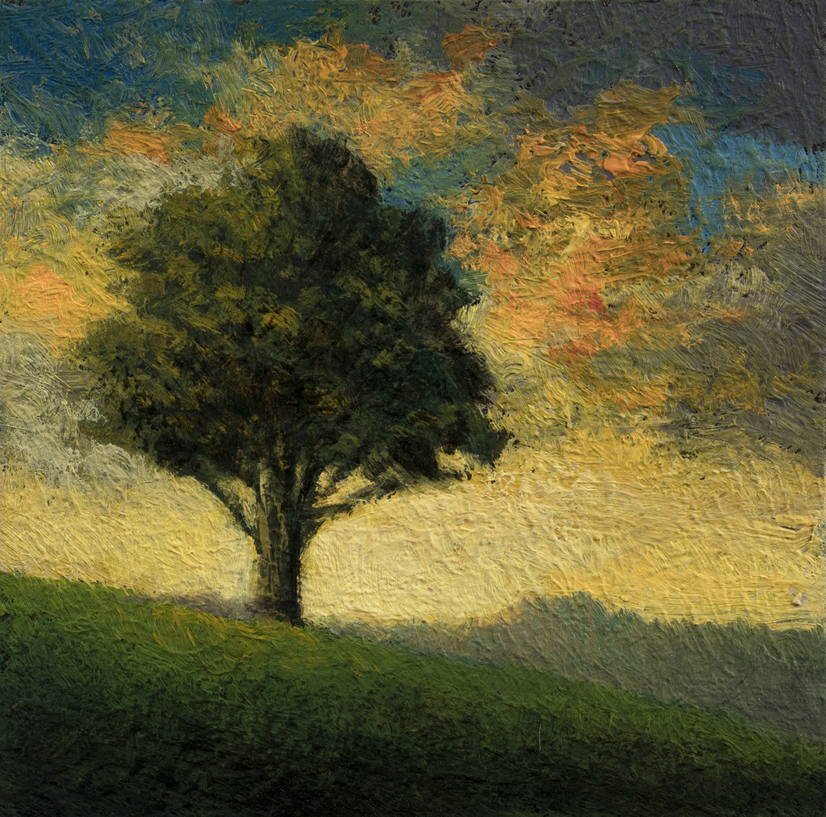 Tree on a Hill by M Francis McCarthy - 3½x3½Oil on Wood Panel