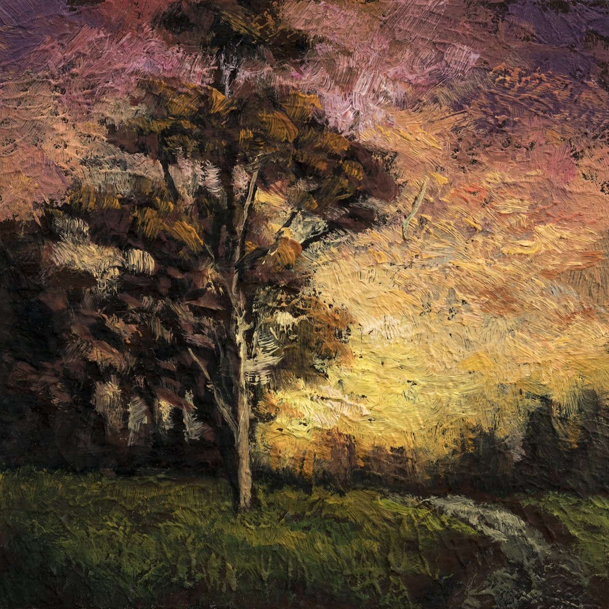 Twilight Field  by M Francis McCarthy - 3½x3½ Oil on Wood Panel