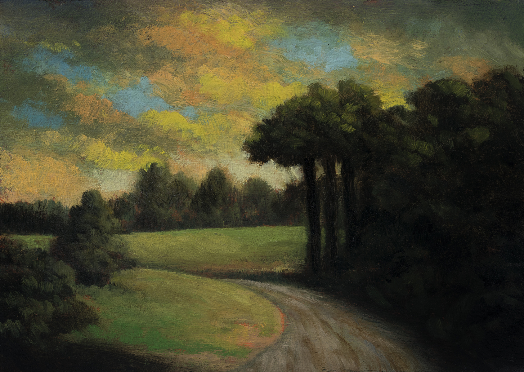 Storm Above the Meadow by M Francis McCarthy - 5x7 Oil on Wood Panel