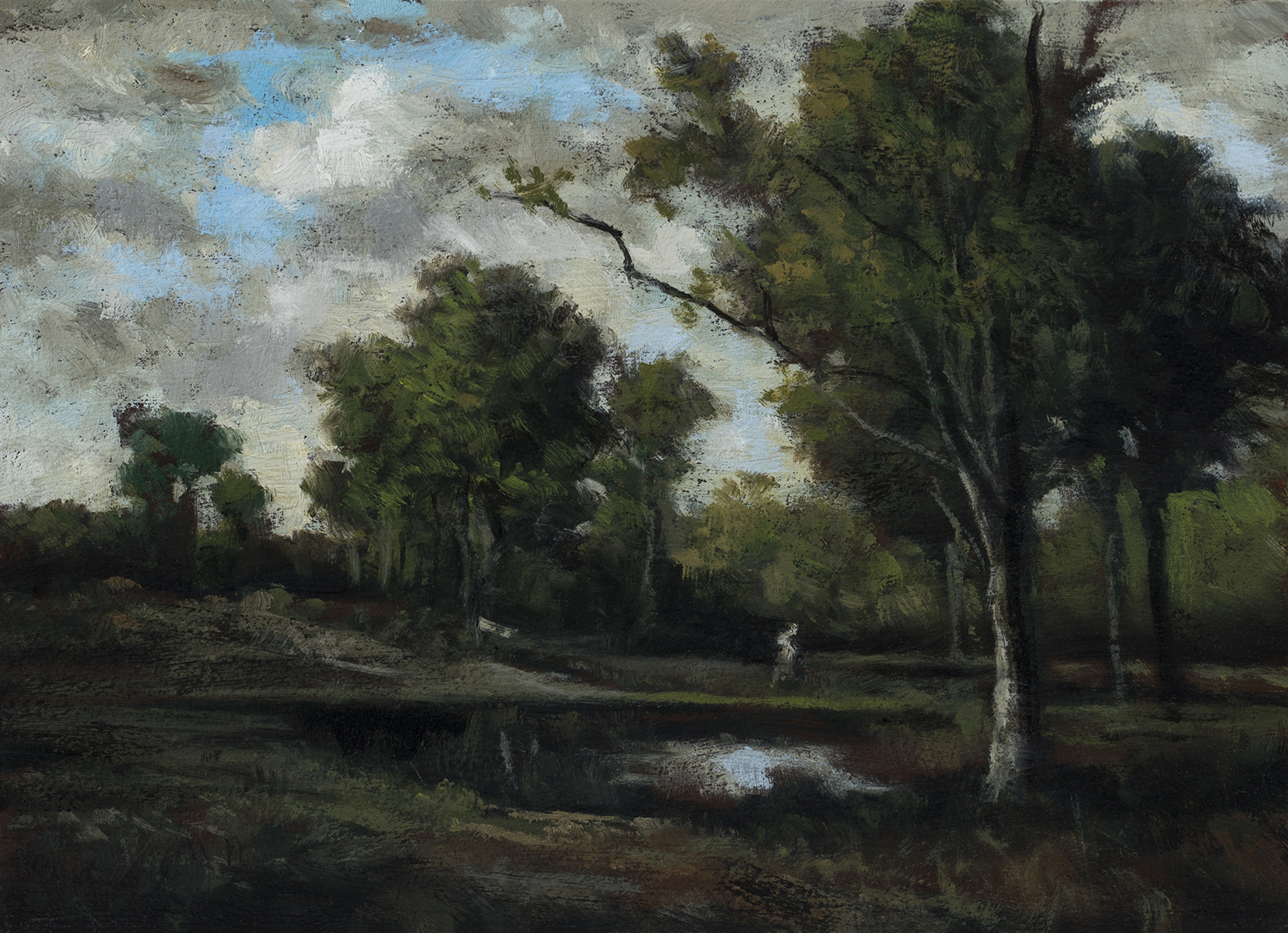 Study after: Leon Richet Foret de Fontainebleau by M Francis McCarthy - 5x7 Oil on Wood Panel
