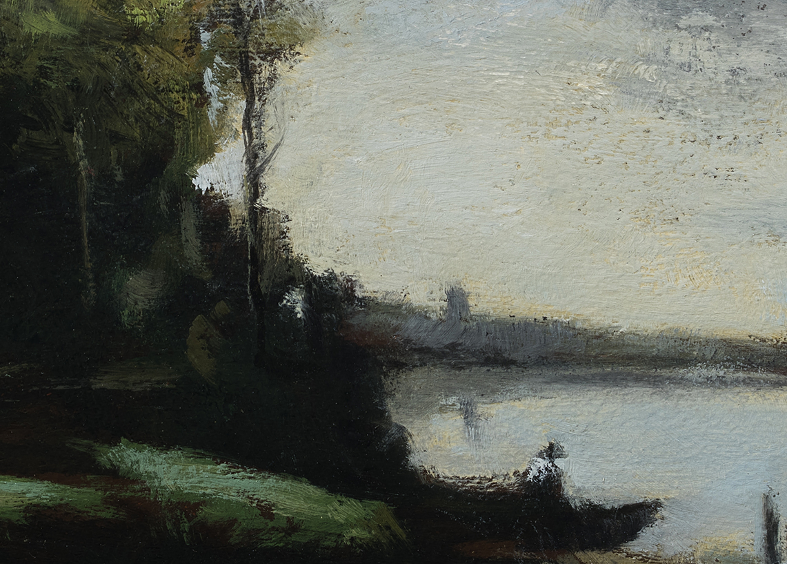 Study after: Camille Corot River with a Distant Tower - 5x7 (Detail)