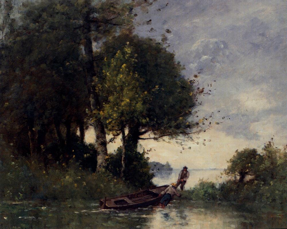 Paul Trouillebert Shoring the Fishing Boat (Original)