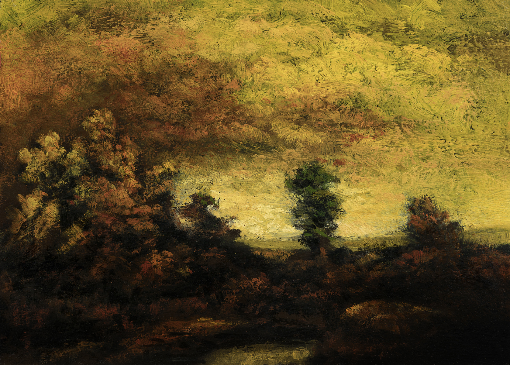 Study after: Ralph Albert Blakelock A Mountain Road by M Francis McCarthy - 5x7 Oil on Wood Panel