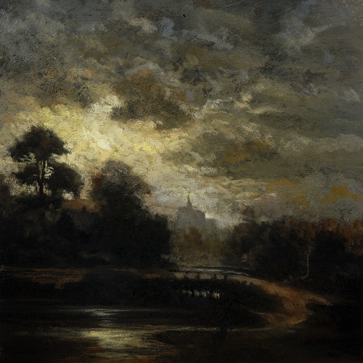 Study after: Jules Dupre' - landscape by Moonlight by M Francis McCarthy - 8x8 Oil on Wood Panel