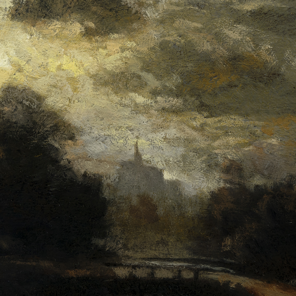 Study after: Jules Dupre' - landscape by Moonlight by M Francis McCarthy - 8x8 (Detail)