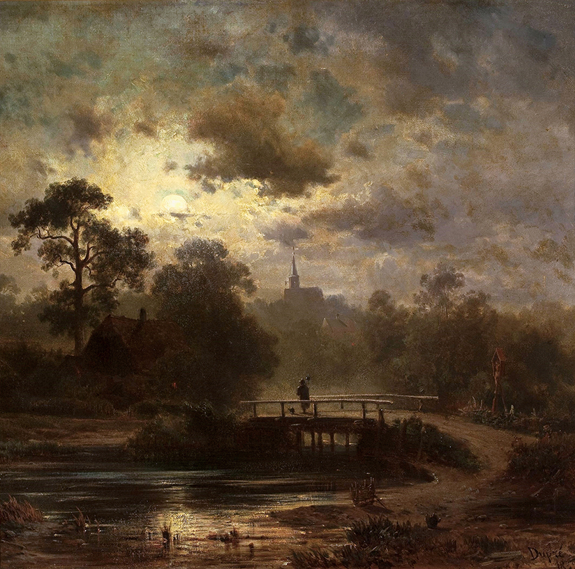 Jules Dupre' - landscape by Moonlight (Original)