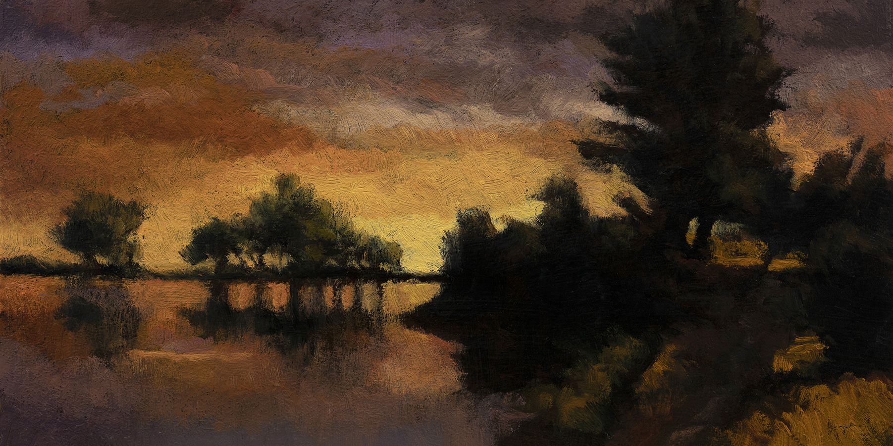 Twilight Pond by M Francis McCarthy - 5x10 Oil on Wood Panel