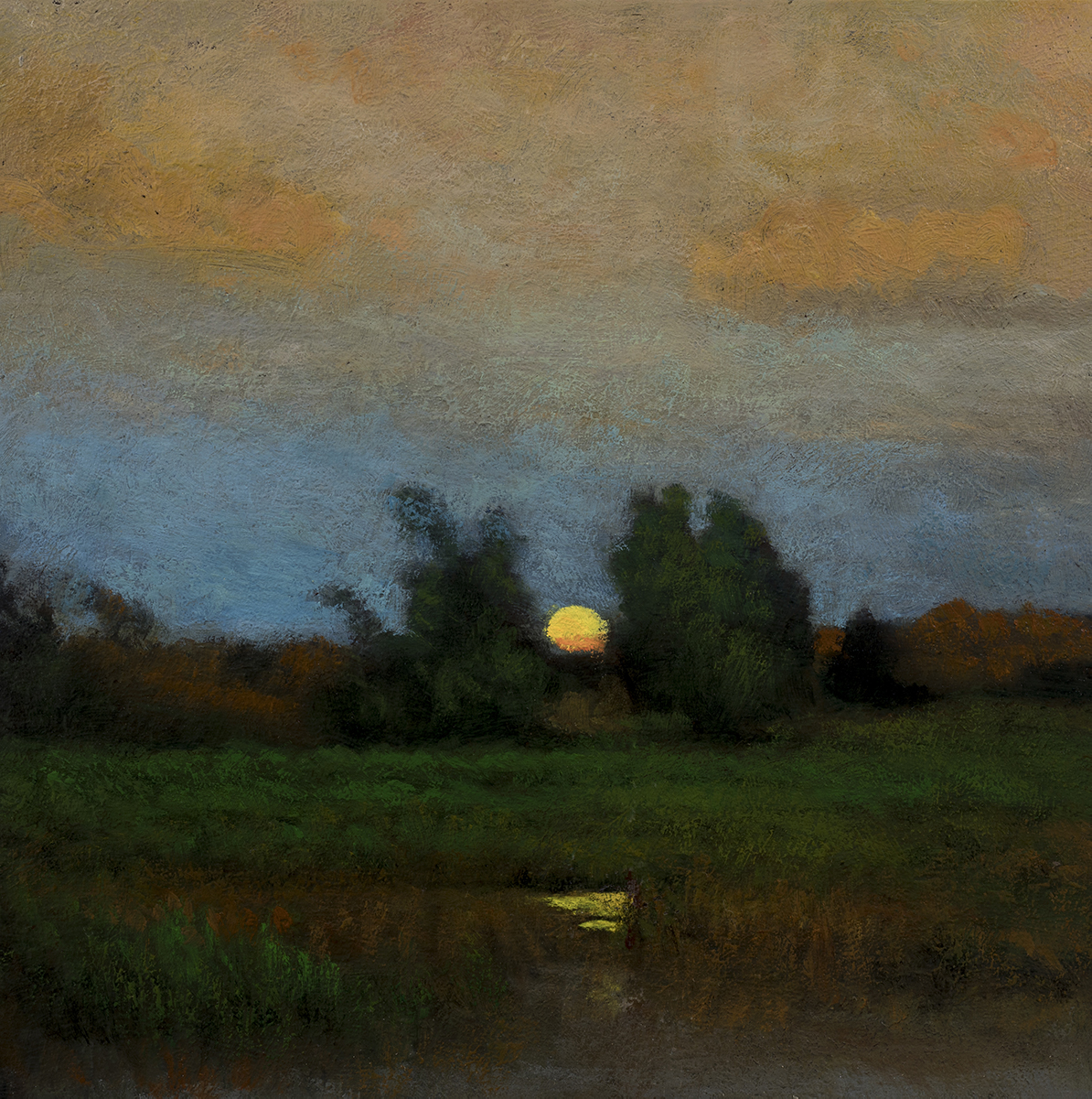 Study after: George Inness - Moonrise by M Francis McCarthy - 8x8 Oil on Wood Panel