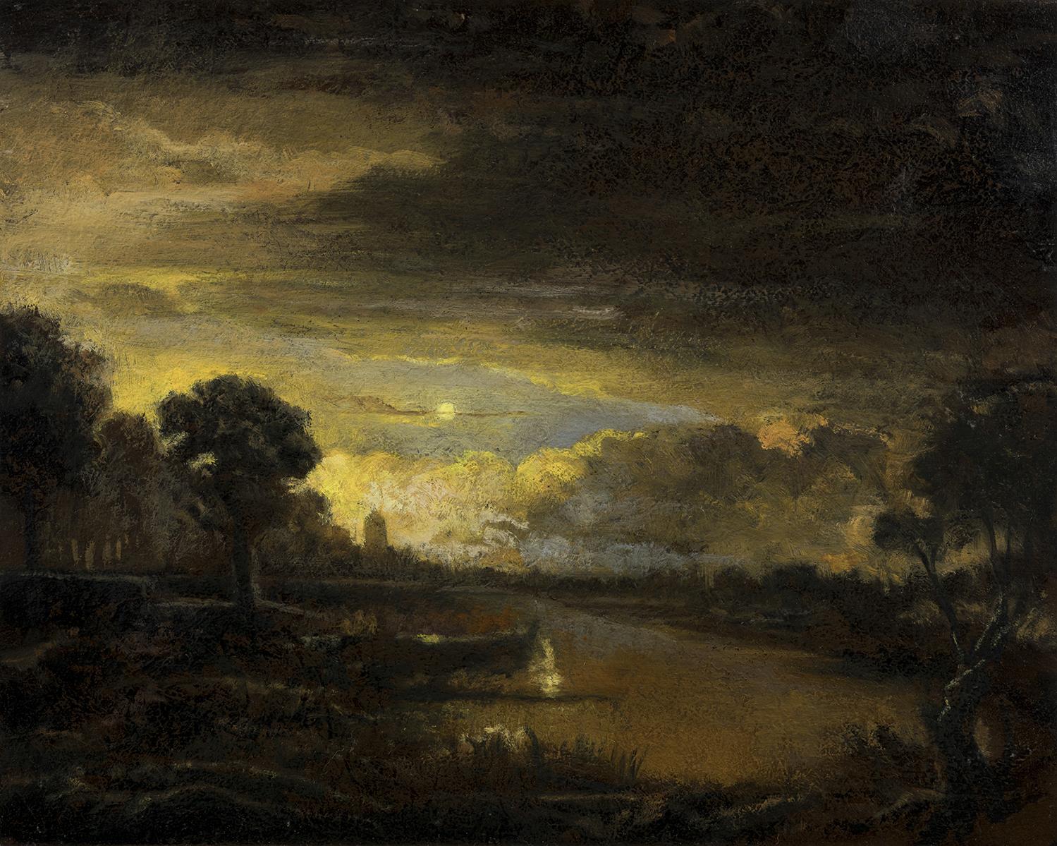 Study after:Aert Van Der Neer River Scene by M Francis McCarthy - 8x10 Oil on Wood Panel