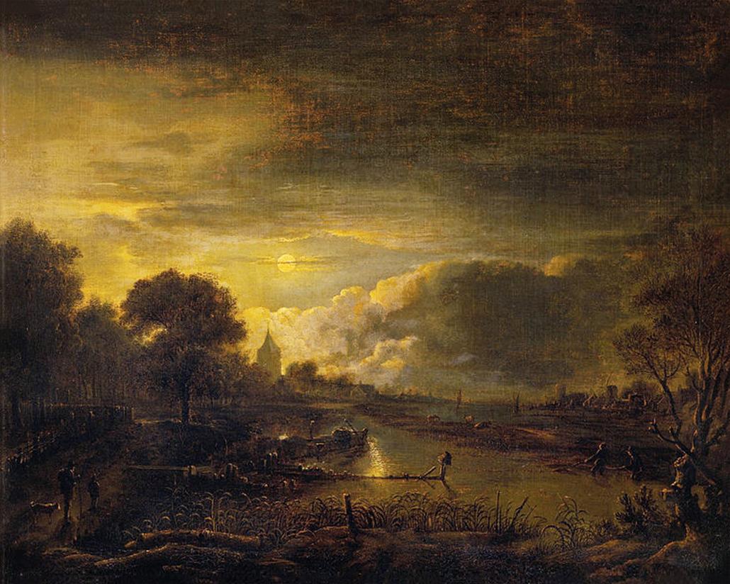 Aert Van Der Neer River Scene (Original)