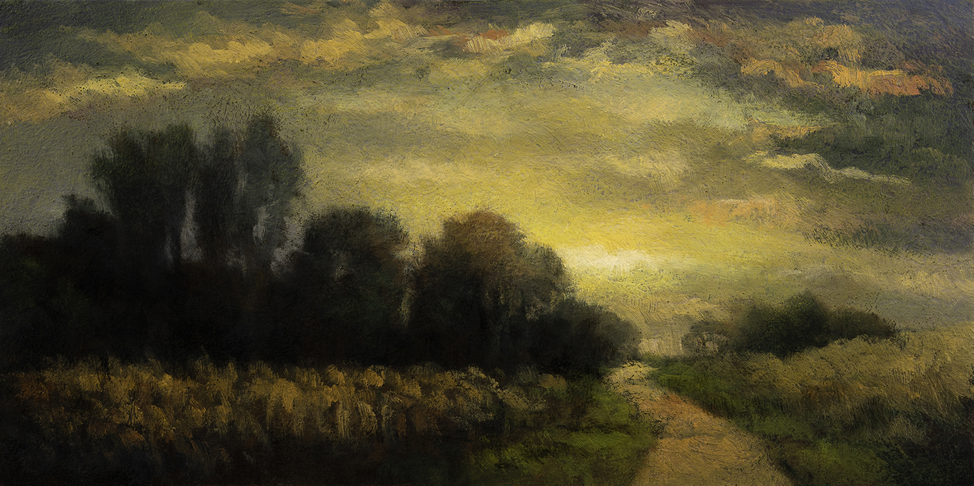 Evening Haze by M Francis McCarthy - 5x10 Oil on Wood Panel