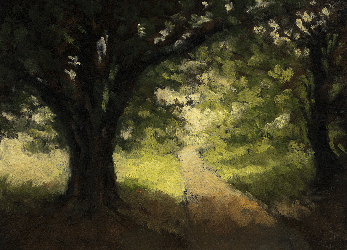 Light through the Treesby M Francis McCarthy - 5x7 Oil on Wood Panel