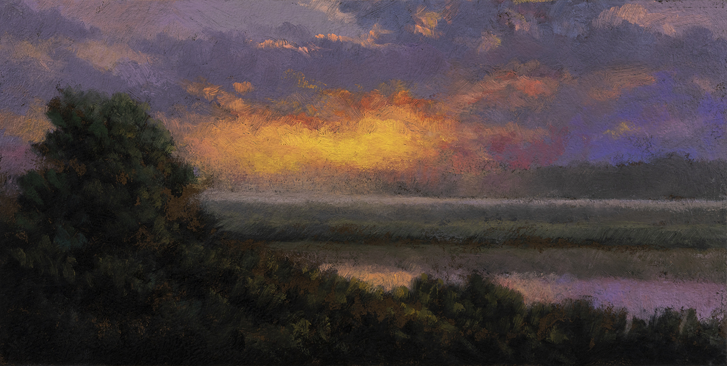 Rivers Edge by M Francis McCarthy - 5x10 Oil on Wood Panel