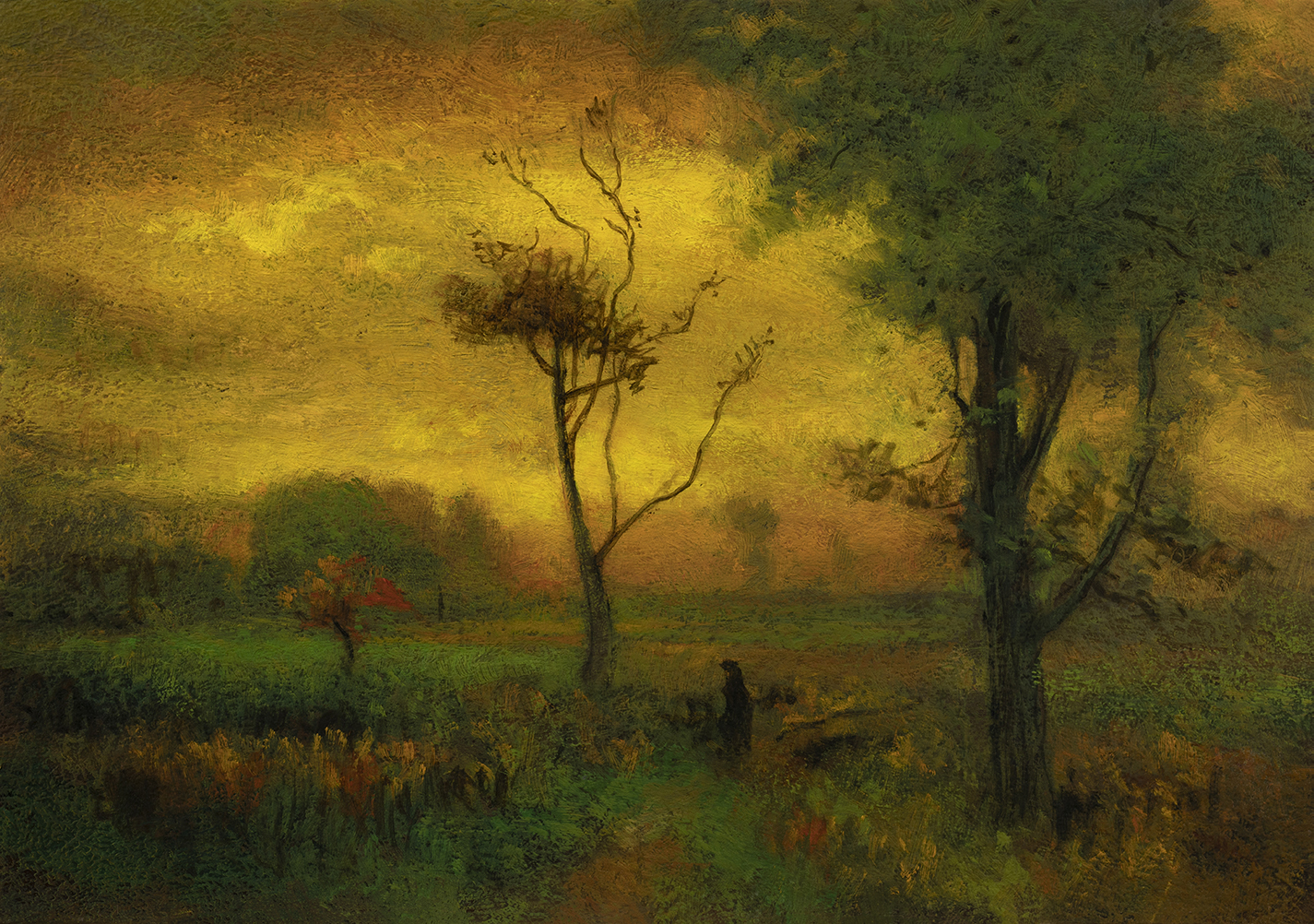 Study after George Inness 'Sunrise' by M Francis McCarthy - 7x10 Oil on Wood Panel