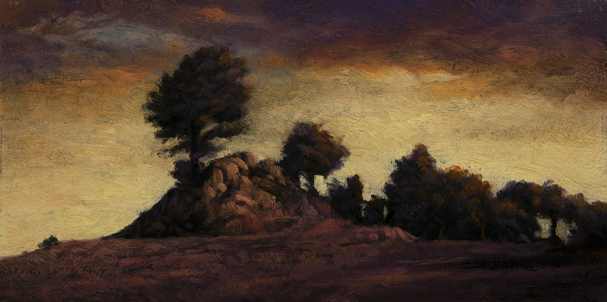 Close to Dusk by M Francis McCarthy - 5x10 Oil on Wood Panel