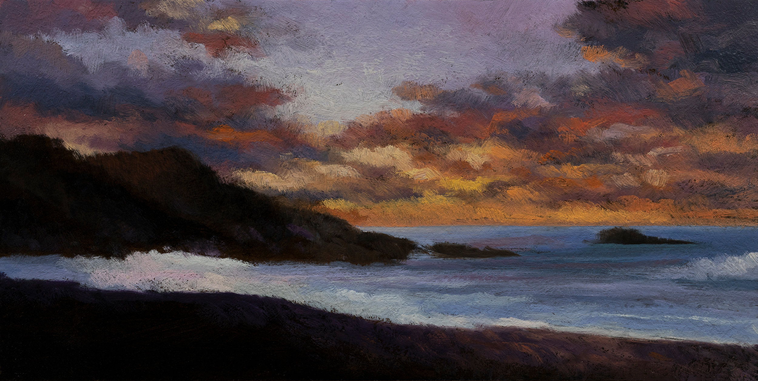 Twilight by the Sea by M Francis McCarthy - 5x10 Oil on Wood Panel