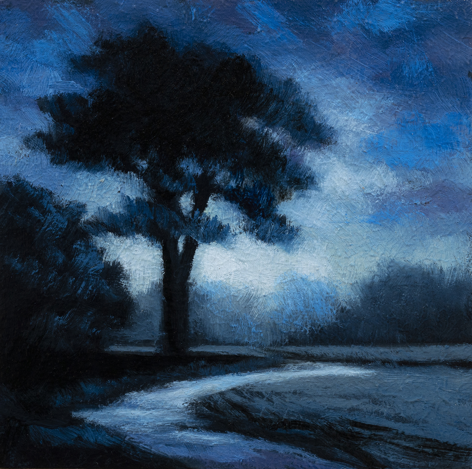 Blue Nocturne by M Francis McCarthy - 3½x3½ Oil on Wood Panel