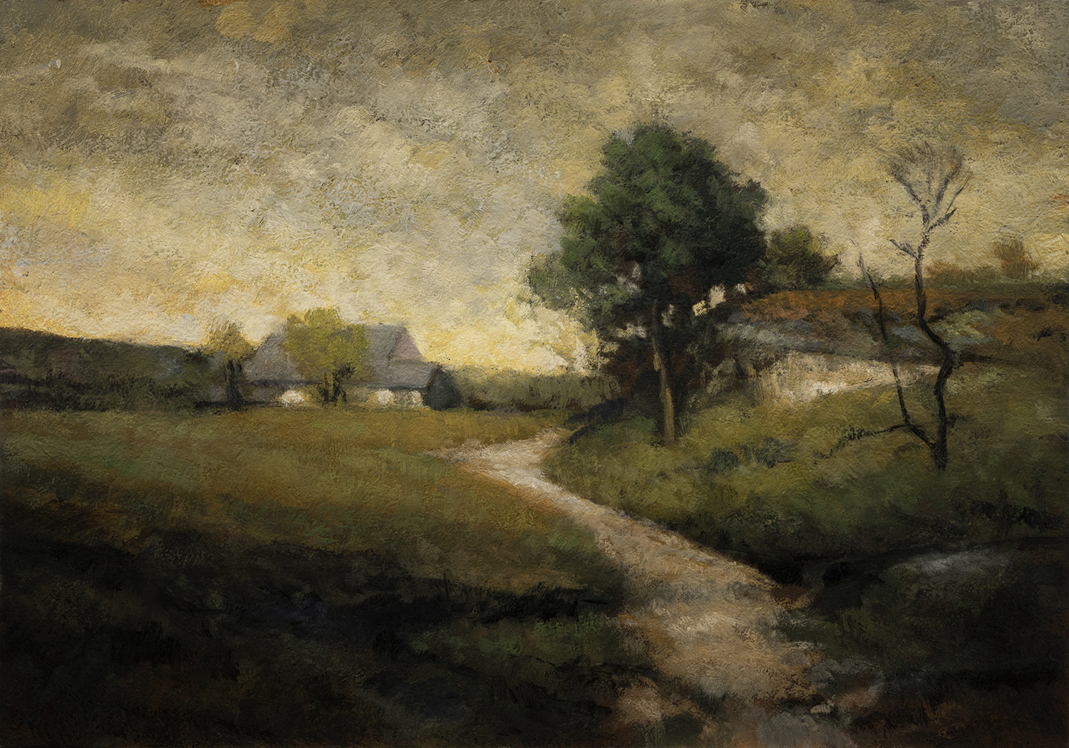 Study after: Alexander H Wyant Arkville Landscape by M Francis McCarthy - 7x10 Oil on Wood Panel