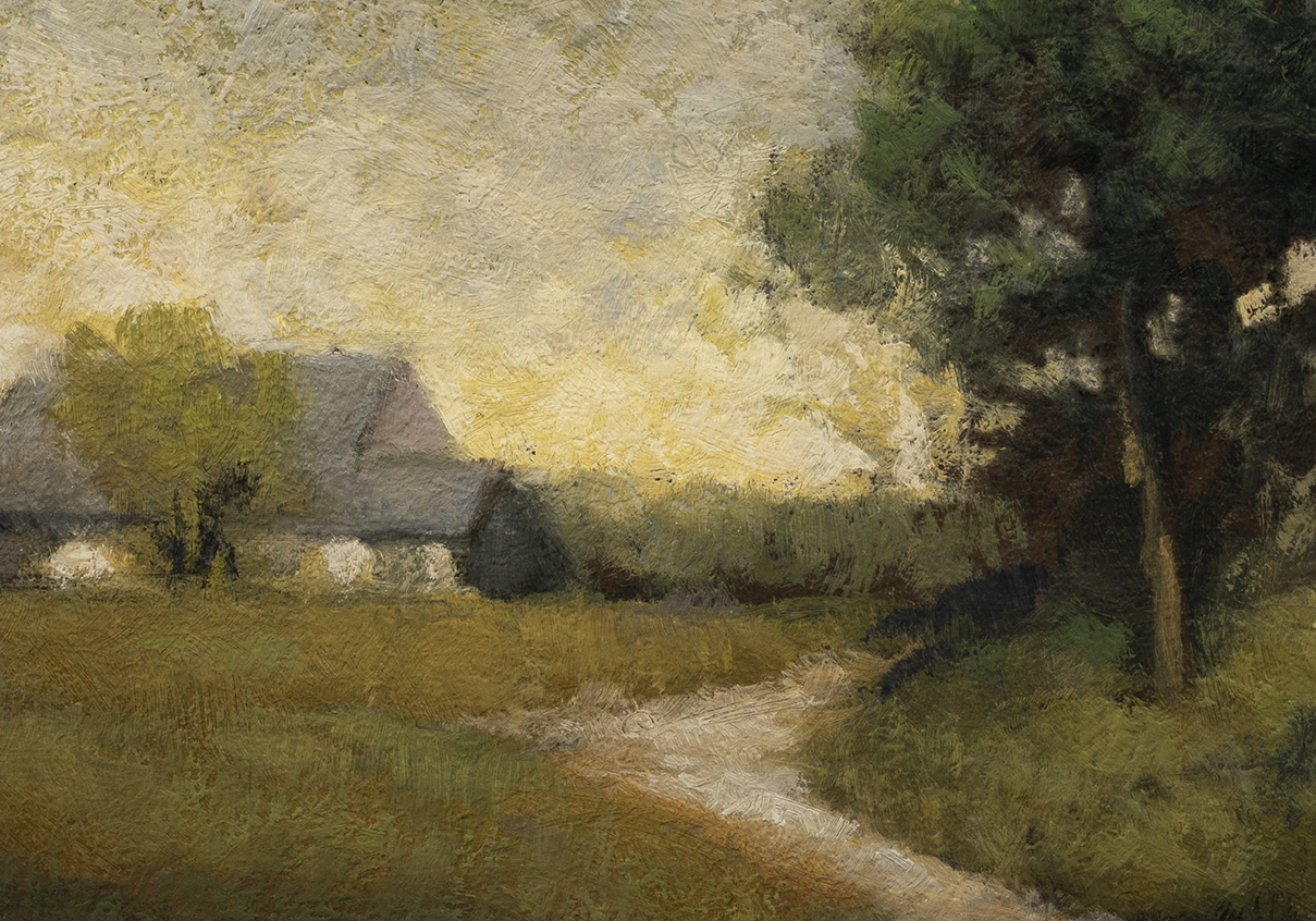 Study after: Alexander H Wyant Arkville Landscape by M Francis McCarthy - 7x10 (Detail)