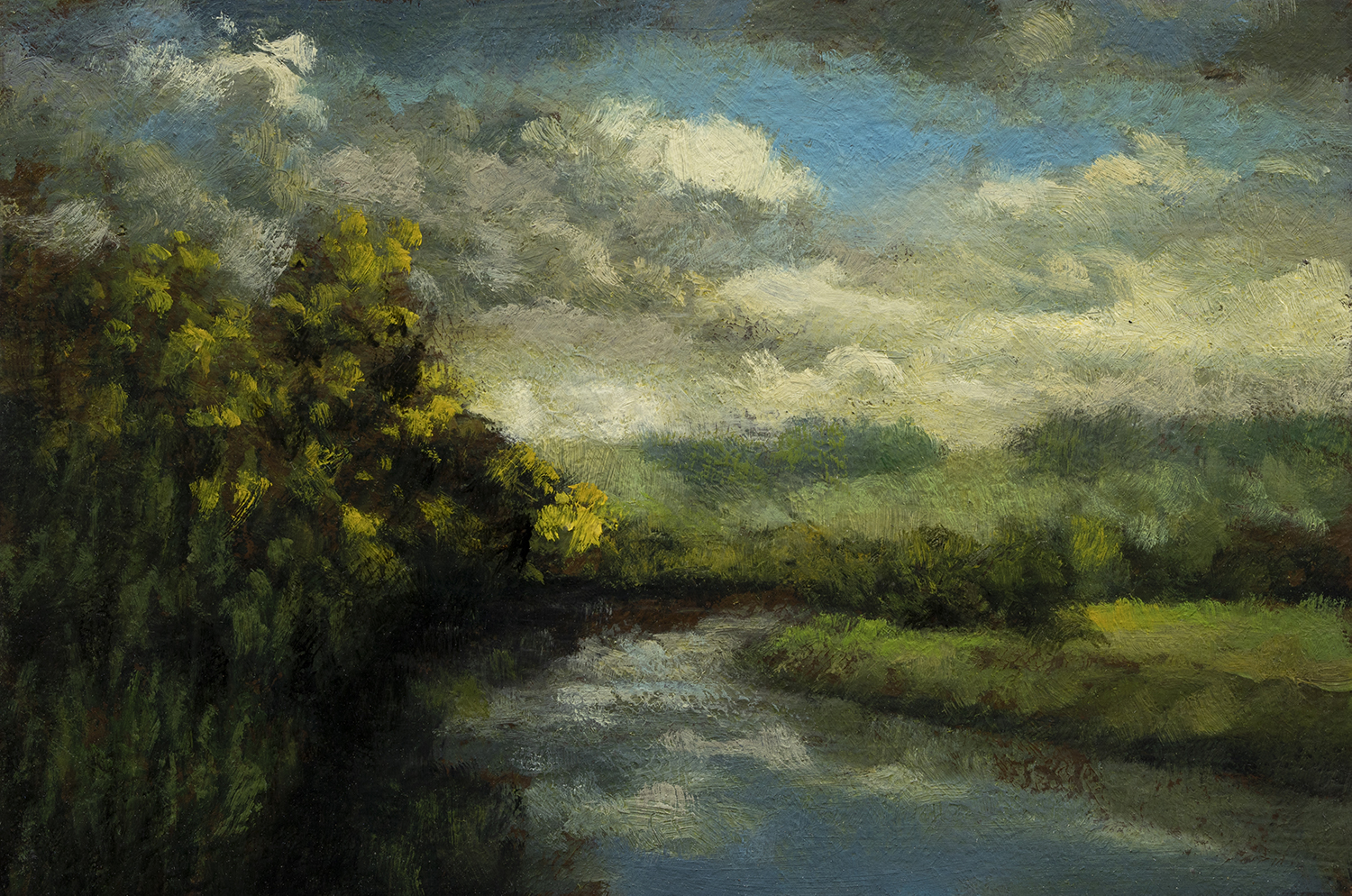 Cloudy Day by M Francis McCarthy - 4x6 Oil on Wood Panel