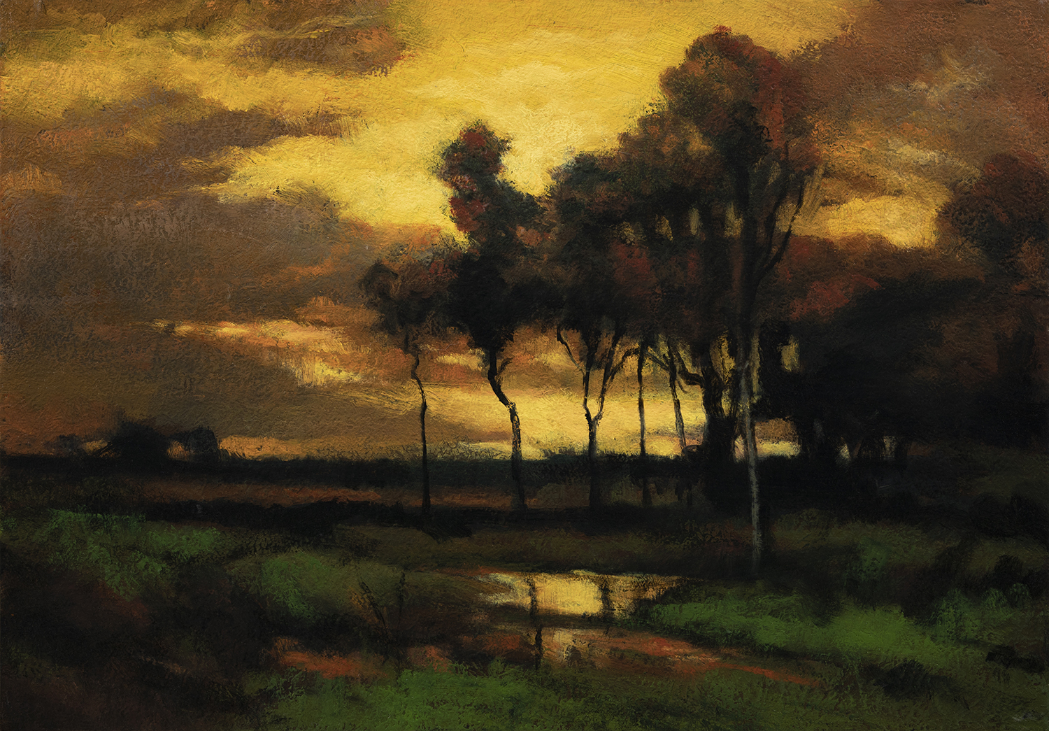 Study after:John Francis Murphy Sunset Landscape by M Francis McCarthy -7x10 Oil on Wood Panel