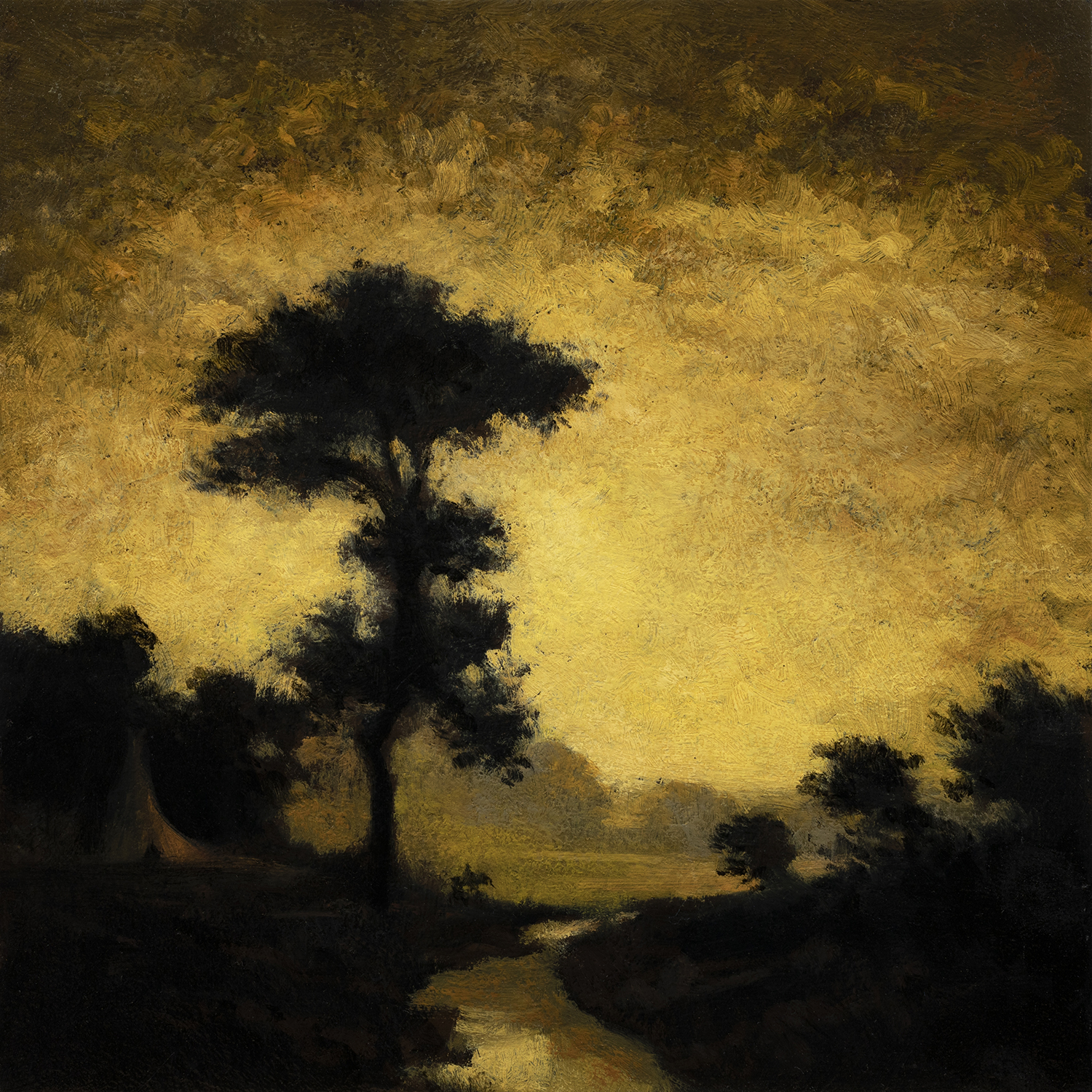 Study after Ralph Albert Blakelock Moonlight by M Francis McCarthy - 8x8 Oil on Wood Panel