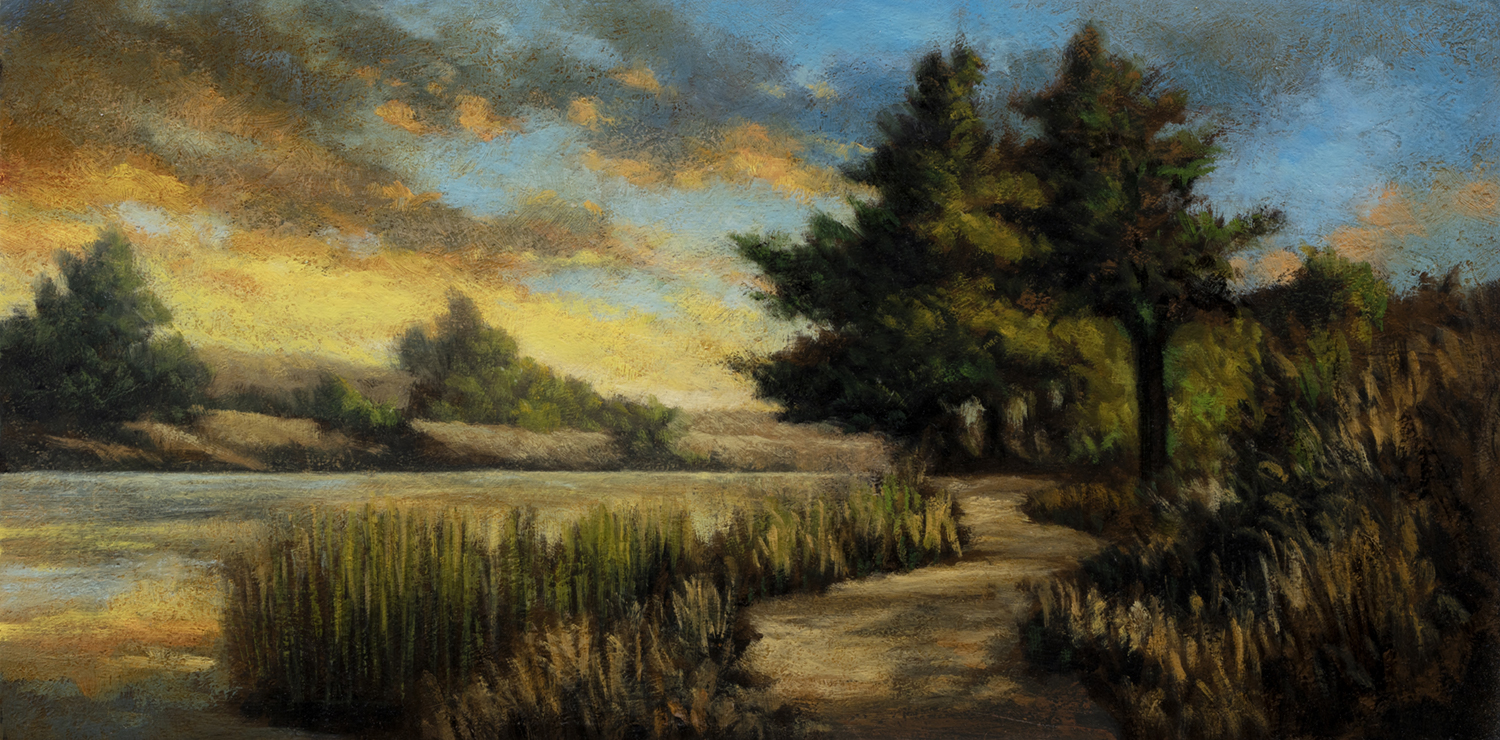 Path by the Pond by M Francis McCarthy - 7x14 Oil on Wood Panel