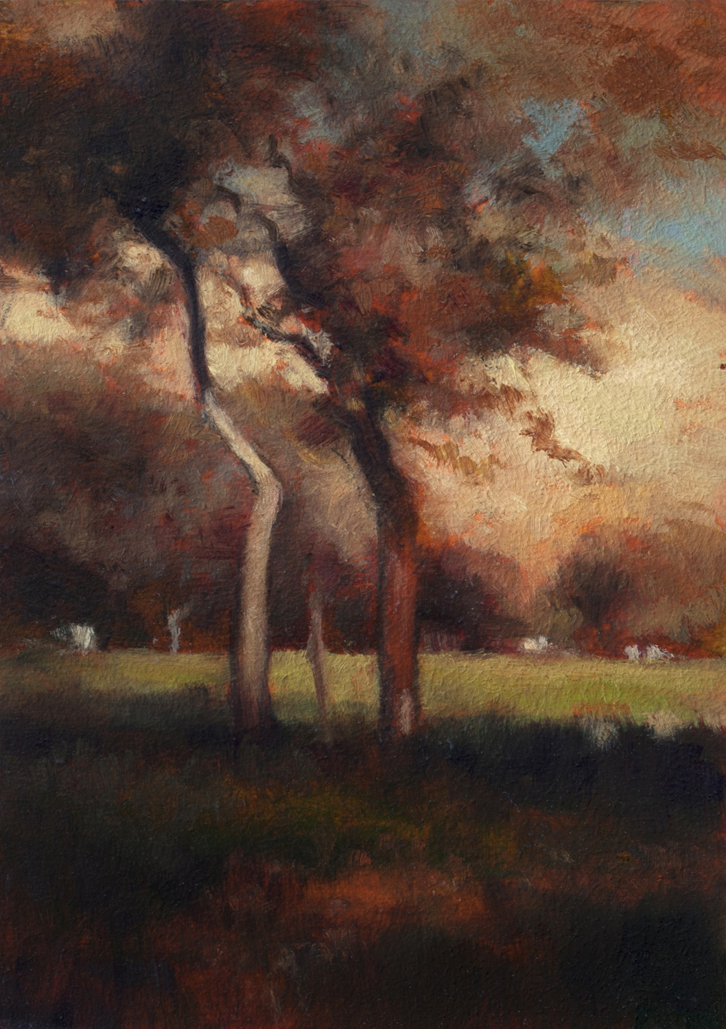 Study after: George Inness California by M Francis McCarthy - 5x7 Oil on Wood Panel