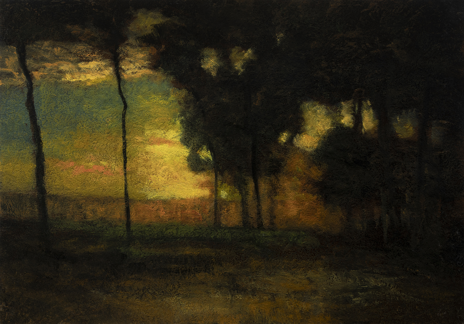 Study after George Inness Sunset in the Old Orchard by M Francis McCarthy - 7x10 Oil on Wood Panel