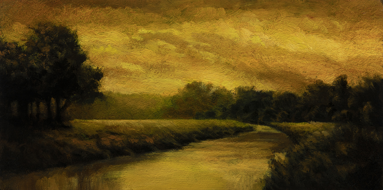 Golden Stream by M Francis McCarthy - 5x10 Oil on Wood Panel