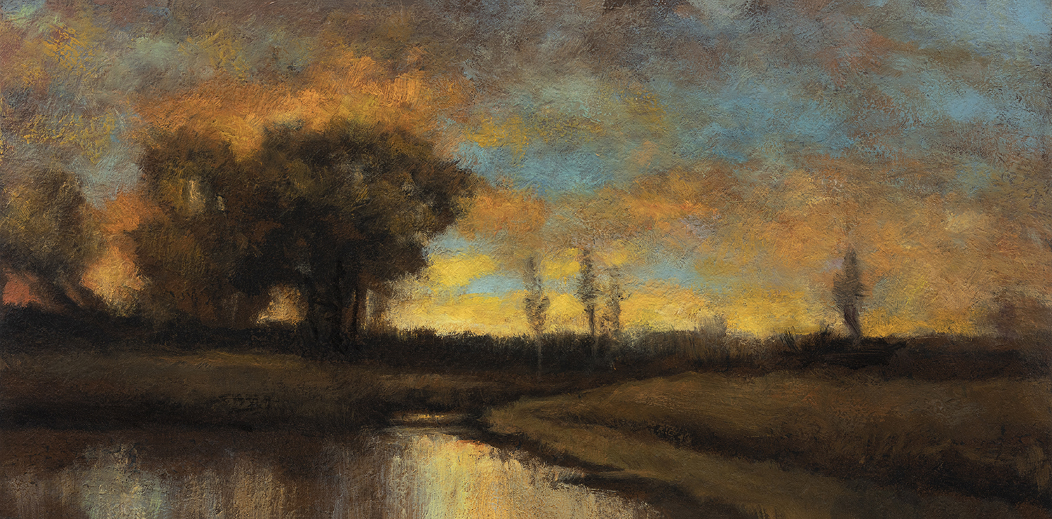 Study after: Charles Appel - Evening sunset with river by M Francis McCarthy - 5x10 Oil on Wood Panel