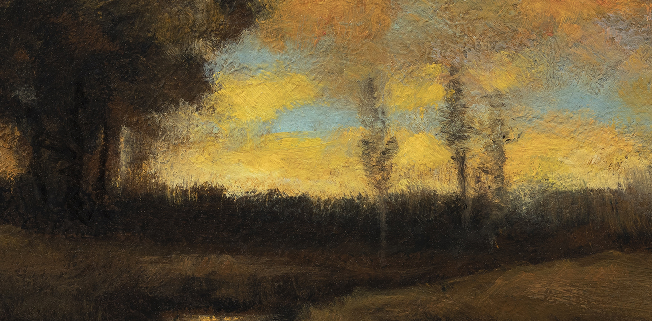 Study after: Charles Appel - Evening sunset with river by M Francis McCarthy - 5x10 (Detail)