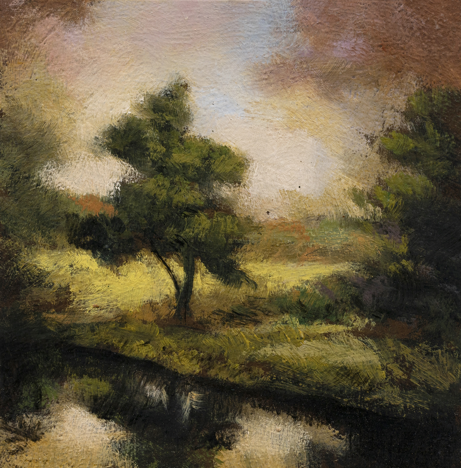 Misty Pond by M Francis McCarthy - 3½x3½ Oil on Wood Panel