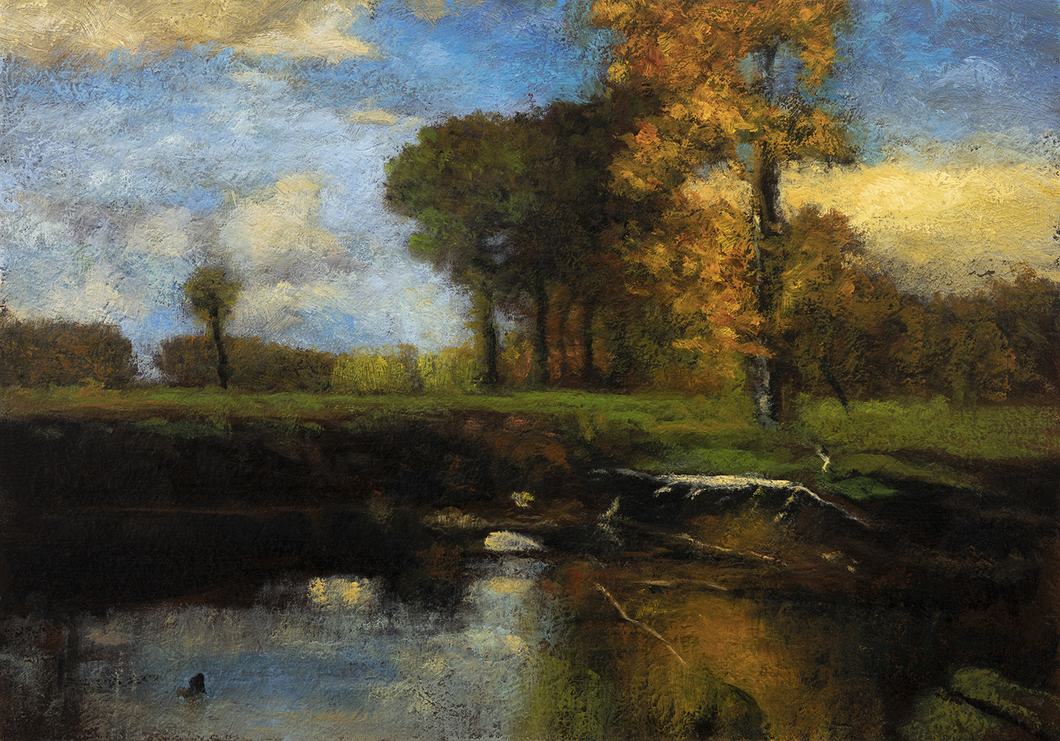 Study after: George Inness Spirit of Autumn by M Francis McCarthy - 7x10 Oil on Wood Panel