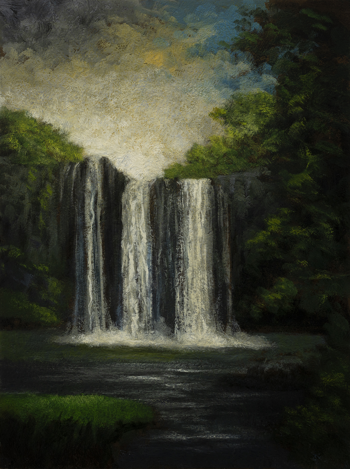 Near the Falls by M Francis McCarthy - 6x8 Oil on Wood Panel