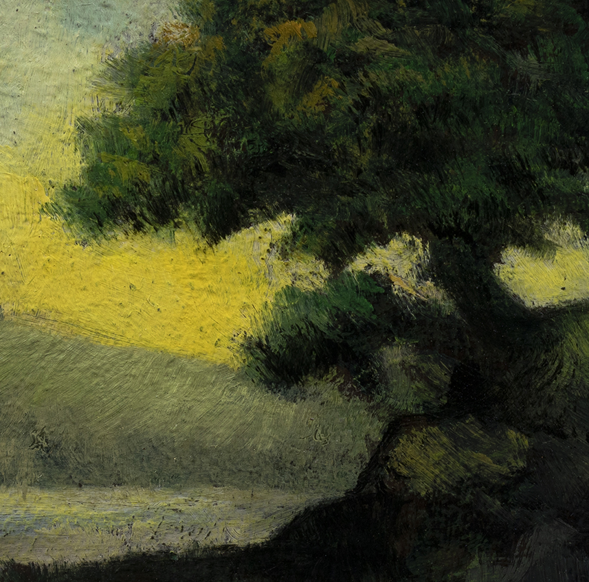 Tree over the Inlet by M Francis McCarthy - 3½x3½ (Detail)