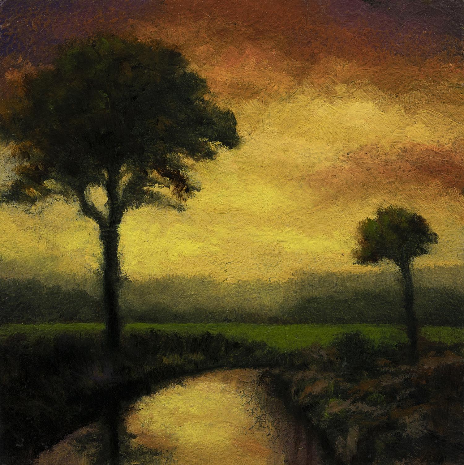 Twilight Stream by M Francis McCarthy - 5x5 Oil on Wood Panel